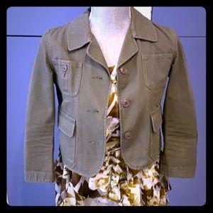 Anthropologie Khaki cropped cotton jacket